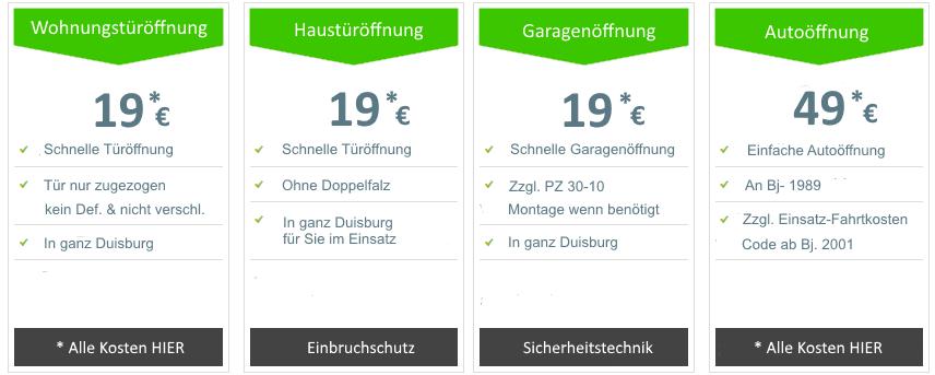 Schlüsseldienst Duisburg Türöffnung 19 Euro
